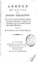 Abrégé de la vie des anciens philosophes