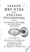 Abrégé des vies des anciens philosophes