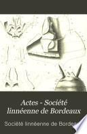 Actes - Société linnéenne de Bordeaux