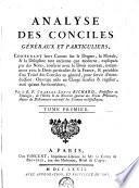Analyse des conciles généraux et particuliers