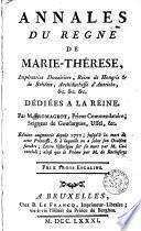 Annales du règne de Marie-Thérèse ...