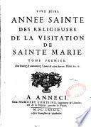 Année Sainte des Religieuses de la Visitation de Sainte Marie