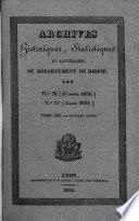 Archives historiques et statistiques du département du Rhône