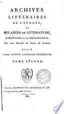 ARCHIVES LITTERAIRES DE L'EUROPE
