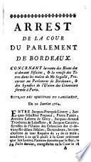 Arrest De La Cour Du Parlement De Bordeaux