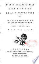 Catalogue des livres de la bibliothèque de M. Pierre-Antoine Bolongaro-Crevenna