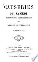 Causeries du Samedi, 2e Série des Causeries littéraires
