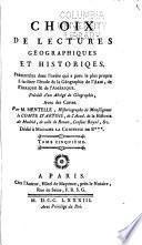 Choix de lectures geographiques et historiques