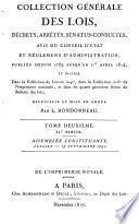 Collection générale des lois, décrets, arrêtés, sénatus-consultes ...