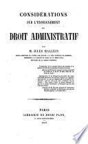 Considérations sur l'enseignement du droit administratif