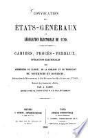 Convocation des États-généraux et législation électoriale de 1789