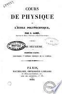 Cours de physique de l'Ecole polytechnique par G. Lamé