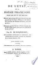 De l'état de la poésie françoise dans les XIIe et XIIIe siècles ...
