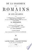 De la grandeur des Romains et de leur décadence