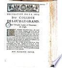 Décoration de la sale du Collège de Louis le Grand, pour l'oraison latine de l'ouverture des classes [par le P. Menestrier]