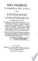 Des pierres tombees du ciel ou lithologie atmospherique (etc.)
