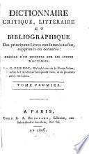 Dictionnaire critique, littéraire, et bibliographique des principaux livres condamnés au feu, suprimés ou censurés: précédé d'un discours sur ces sortes d'ouvrages