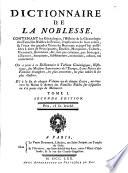 Dictionnaire de la noblesse ... de France