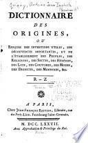 Dictionnaire des origines
