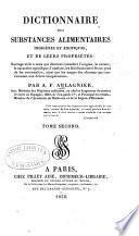 Dictionnaire des Substances alimentaires et de leurs Propriétés