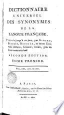 Dictionnaire Universel des Synonymes de la langue Française, 1