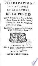 Dissertation sur les causes et la nature de la peste