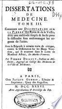 Dissertations de medecine tome III