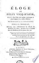 Éloge de Félix Vicq-d'Azir