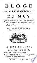 Eloge de M. le Maréchal Du Muy, qui a remporté le prix au jugement de l'Académie de Marseille, le 25 août 1778, par Pierre-Prime-Félicien Le Tourneur