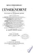 Études. [Continued as] Revue internationale de l'enseignement. Rédacteur en chef E. Dreyfus-Brisac
