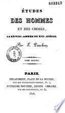 Études des hommes et des choses, la XXVIe année du XIXe siècle