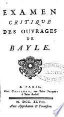 Examen critique des ouvrages de Bayle