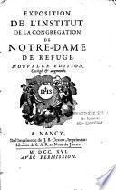 Exposition de l'Institut de la Congrégation de Notre-Dame de Refuge