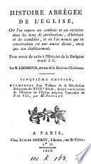 Histoire abrégée de l'Église, pour servir de suite à l'Histoire de la religion avant J.C. Proyart