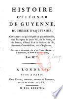Histoire d'Eléonor de Guyenne, duchesse d'Aquitaine