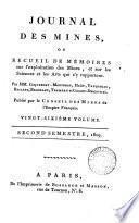 JOURNAL DES MINES, OU RECUEIL DE MEMOIRES
