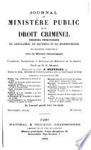 Journal du ministère public et du droit criminel