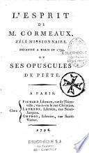 L'esprit de M. Cormeaux... ou ses opuscules de piété