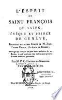 L'esprit de Saint François de Sales
