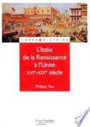 L'Italie de la renaissance à l'unité - Livre de l'élève - Edition 2001