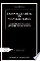 L'œuvre de chère en Nouvelle-France
