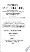 L'Université catholique, recueil religieux, philosophique, scientifique et littéraire