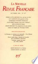 La Nouvelle Revue Française N° 477