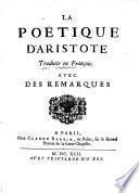 La poetique d'Aristote