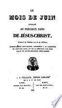 Le mois de juin consacré au précieux sang de Jésus-Christ