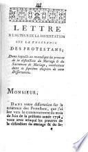 Lettre à l'auteur de la Dissertation sur la tolérence des protestants, ...