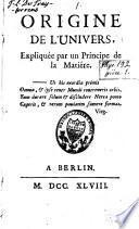 Lettre à M. sur le principe du mouvement dans les corps, et sur l'immatérialité de l'âme, et Réflexions au sujet du livre intitulé Pensées philosophiques