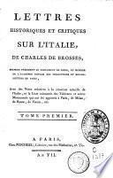 Lettres historiques et critiques sur l'Italie