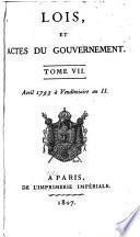 Lois, et actes du gouvernement ... Août 1789 [à 18 Prairial an II]: Avril 1793 à Vendémaire an II