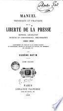 Manuel theorigue et praticques de la liberté de la presse, 2
